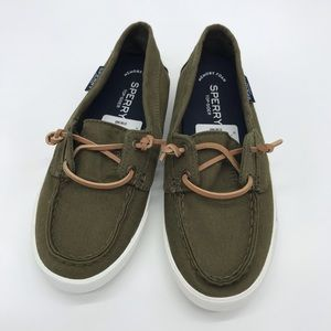 SPERRY Canvas Lounge Away Boat Shoes Olive Green